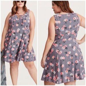 Torrid Floral Print Lace Up Gauze Trapeze Dress
